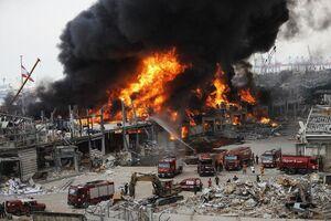 جدیدترین تصاویر از محل آتش سوزی در بیروت