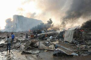 نقطه صفر محل انفجار در بیروت