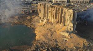تصویر محل انفجار شدید در بندر بیروت