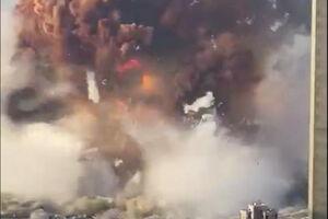 لحظه انفجار اصلی در بیروت
