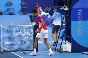 فیلم/ عصبانیت مرد اول تنیس جهان در المپیک!