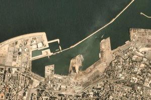 اولیبن تصویر ماهواره ای محل انفجار بیروت